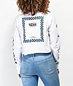 Vans Bloom White & Blue Long Sleeve Crop T-Shirt