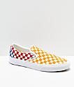 Vans Classic Slip-On zapatos de skate de cuadros rojos, azules y amarillos