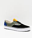 Vans Era Rally zapatos de skate negros, verdes y amarillos