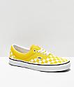 Vans Era zapatos de skate de cuadros de color amarillo vibrante