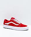 Vans Old Skool Pro Red & White Suede Skate Shoes