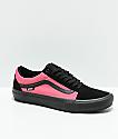 Vans Old Skool Pro zapatos de skate asimétricos en negro, rosa y azul