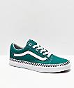 Vans Old Skool Quetzal zapatos de skate verdes con cinta de cuadros