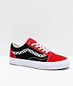Vans Old Skool Sidestripe V Red, Black & White Skate Shoes