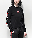 Vans Red & White Checkerboard Black Long Sleeve Crop T-Shirt