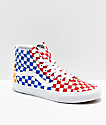 Vans Sk8-Hi Checkerboard Red, Blue & Yellow Skate Shoes