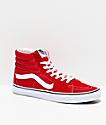 Vans Sk8-Hi Racing zapatos de skate rojos