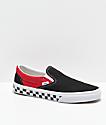 Vans Slip-On BMX zapatos de skate de cuadros en negro, rojo y blanco