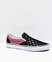 Vans Slip-On Deboss Checkerboard Black & Rose Red Skate Shoes