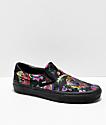 Vans Slip-On Festival zapatos de skate de satén negro