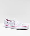 Vans Slip-On Glitter Stars White Skate Shoes