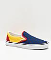 Vans Slip-On OTW Rally zapatos de skate azules, amarillos y rojos de cuadros