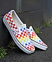 Vans Slip-On Pro Rainbow Checkerboard Skate Shoes