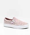 Vans Slip-On Tan & White Polka Dot Platform Shoes