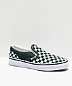 Vans Slip-On zapatos de skate de cuadros verdes y blancos
