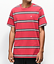 Volcom Beauville camiseta roja de rayas