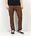 Volcom Vorta Slub pantalones de mezclilla marrón oscuro