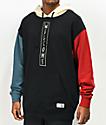 Welcome Quadrant sudadera con capucha negra, azul y roja