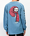Welcome Sloth Slate Blue Long Sleeve T-Shirt