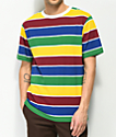 Zine Breaker Green, Blue & Yellow Striped T-Shirt