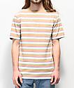 Zine Breaker camiseta de rayas marrón, verde y blanca
