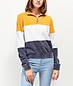 Zine Darby chaqueta de polar con media cremallera amarilla, blanca y azul