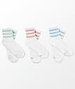 adidas 3 Pack White Ash Multi Anklet Socks