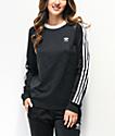 adidas 3-Stripe Allover Black Long Sleeve T-Shirt