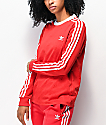 adidas 3 Stripe Allover Print Scarlet Red Long Sleeve T-Shirt
