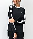 adidas 3-Stripe Black Long Sleeve T-Shirt