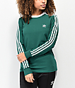 adidas 3-Stripe Collegiate Green & White Long Sleeve T-Shirt