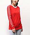 adidas 3 Stripe Scarlet Long Sleeve T-Shirt