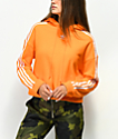 adidas 3 Stripe sudadera corta con capucha naranja