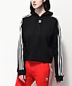 adidas 3 Stripe sudadera corta con capucha negra