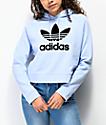 adidas Center Logo Periwinkle Crop Hoodie