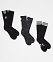adidas Originals Graphic Logo II Black & Grey 3 Pack Crew Socks