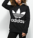 adidas Trefoil Logo sudadera negra con capucha