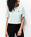 adidas camiseta corta verde menta de rayas verticales