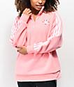 adidas chaqueta con media cremallera de sherpa rosa