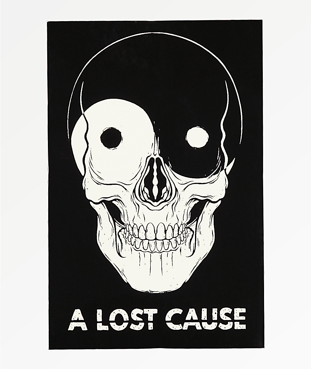 A lost cause yin yang skull sticker zumiez