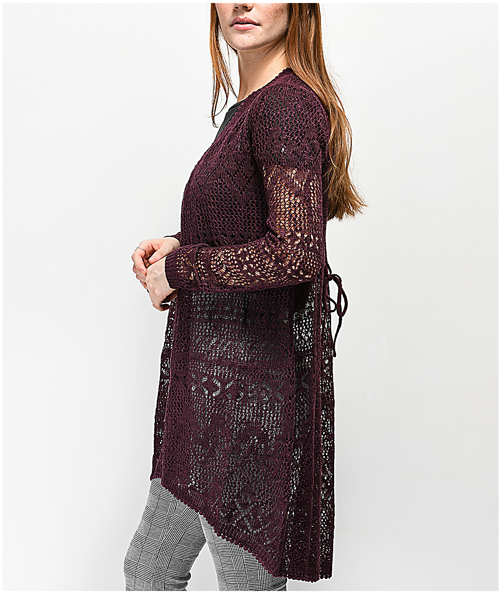 38f2a5d8233 Almost Famous Lacey Burgundy Duster Cardigan
