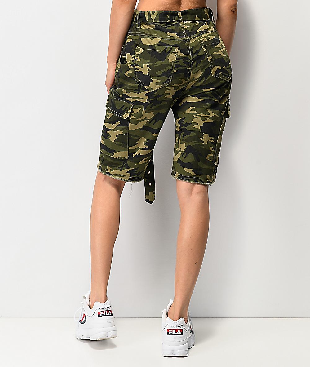 Camuflaje Verde De Oscuro Almost Shorts Cinturón Con Famous PkZuOiX