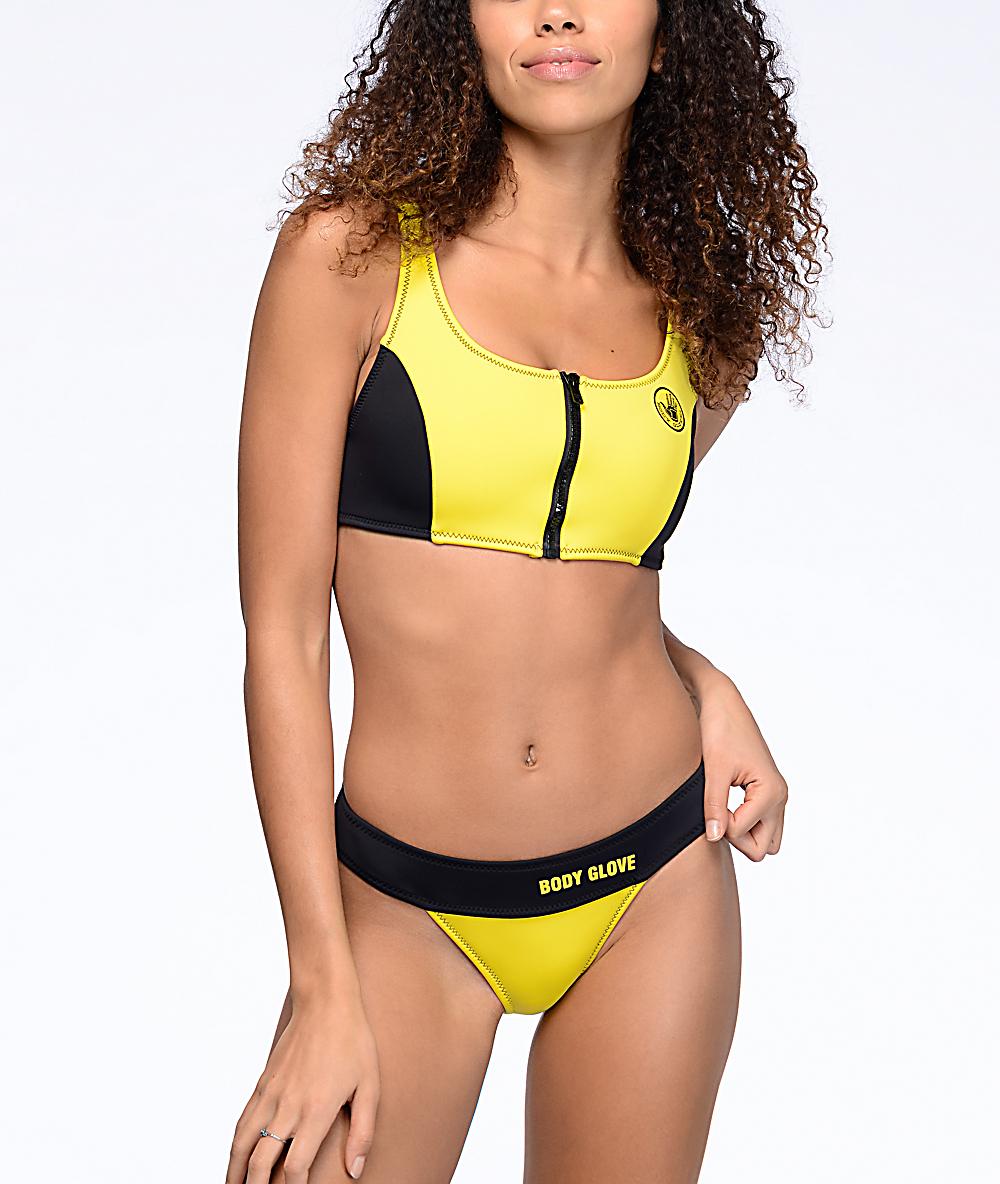 9ba660d182 Body Glove Shout Yellow High Waist Bikini Bottom | Zumiez