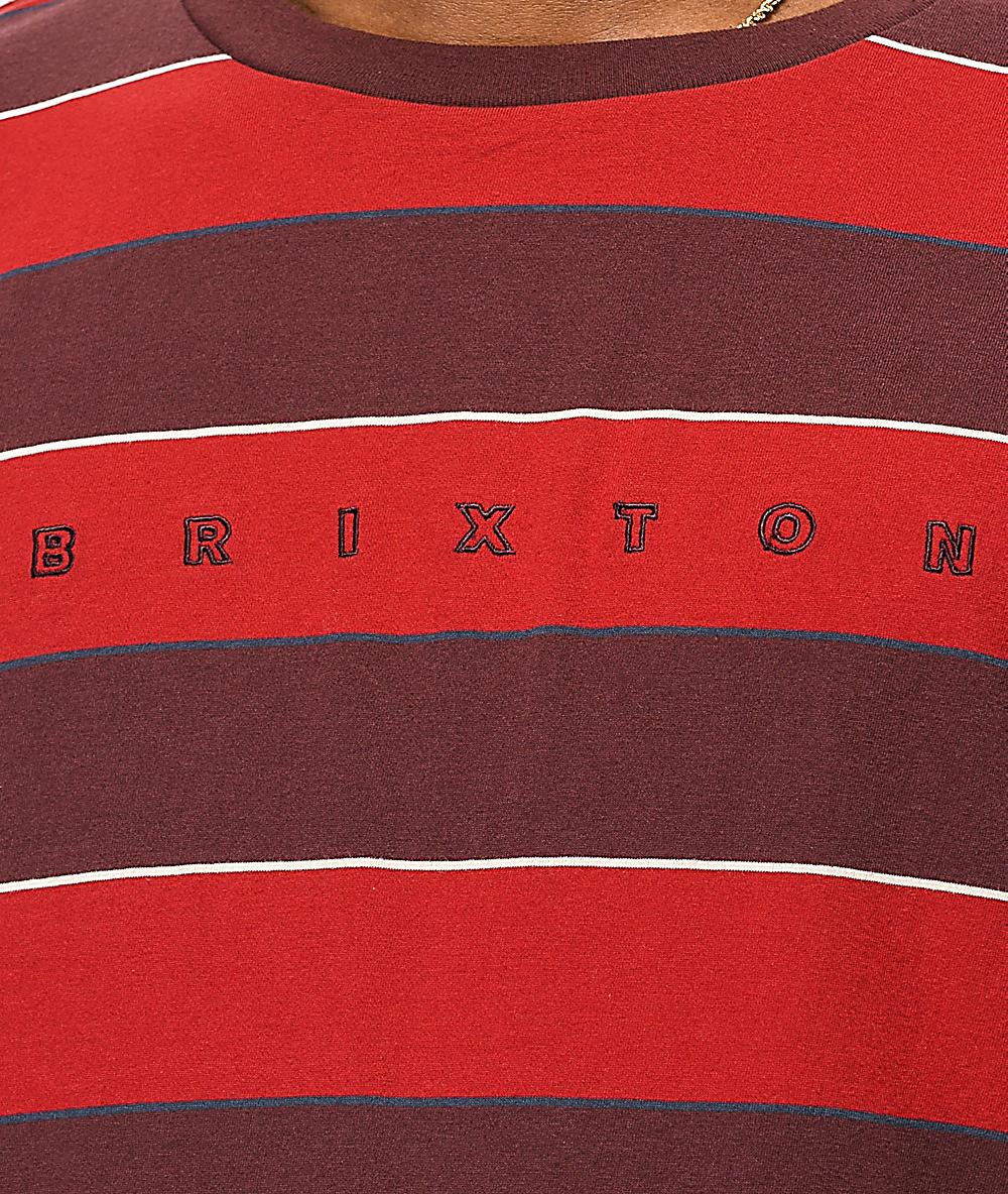 Brixton Hilt Red Stripe Knit Long Sleeve T-Shirt