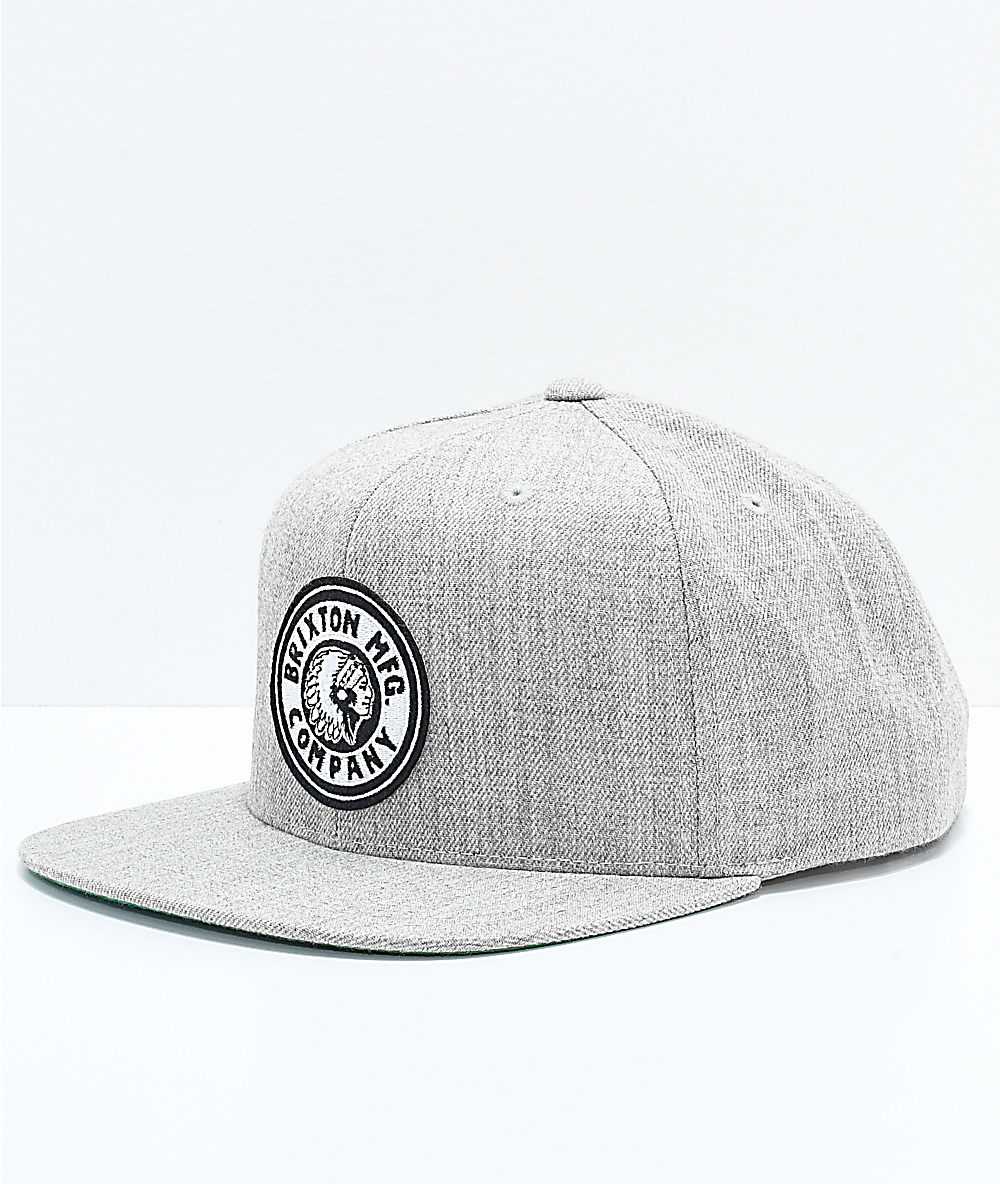 424110fb4d11fd Brixton Rival Light Grey & Off-White Snapback Hat | Zumiez