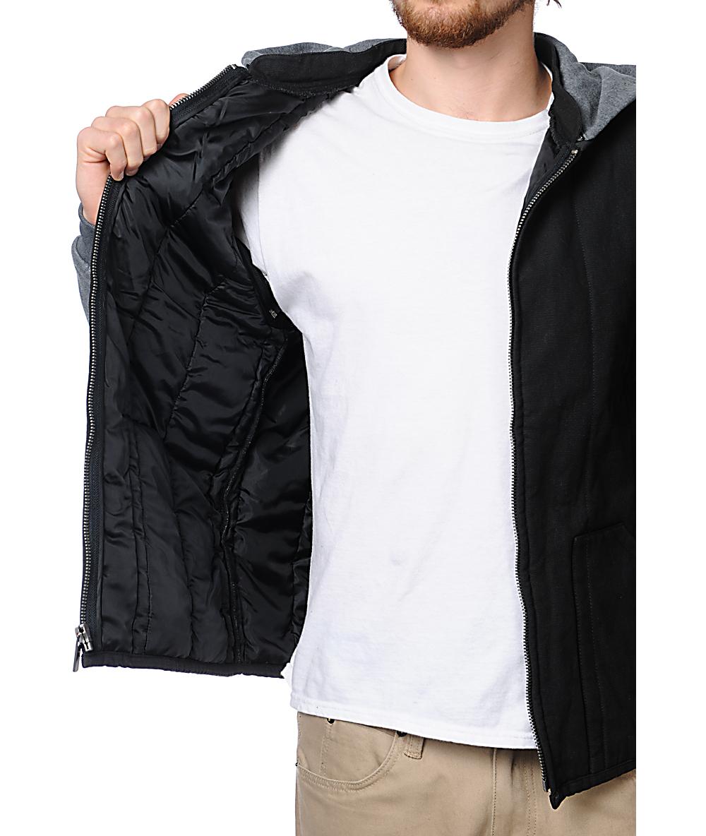 Brixton Ruger Grey & Black Hooded Vest Jacket