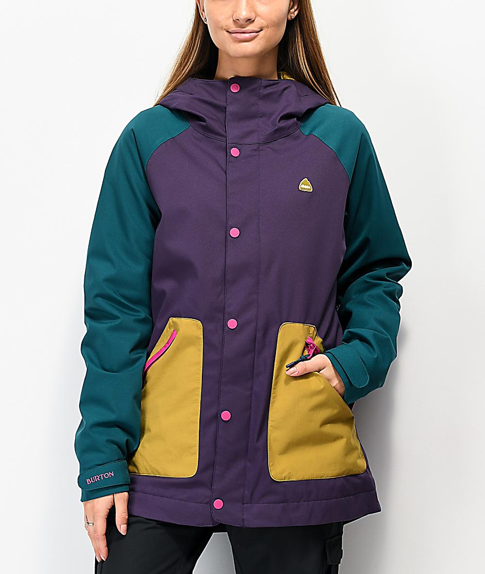 Burton Eastfall Purple Colorblock 10k Snowboard Jacket Zumiez