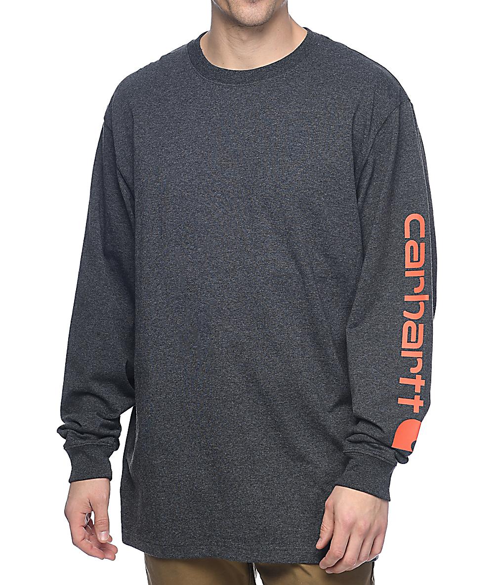 a25d0069ca2f Carhartt Signature Logo Long Sleeve Charcoal T-Shirt | Zumiez