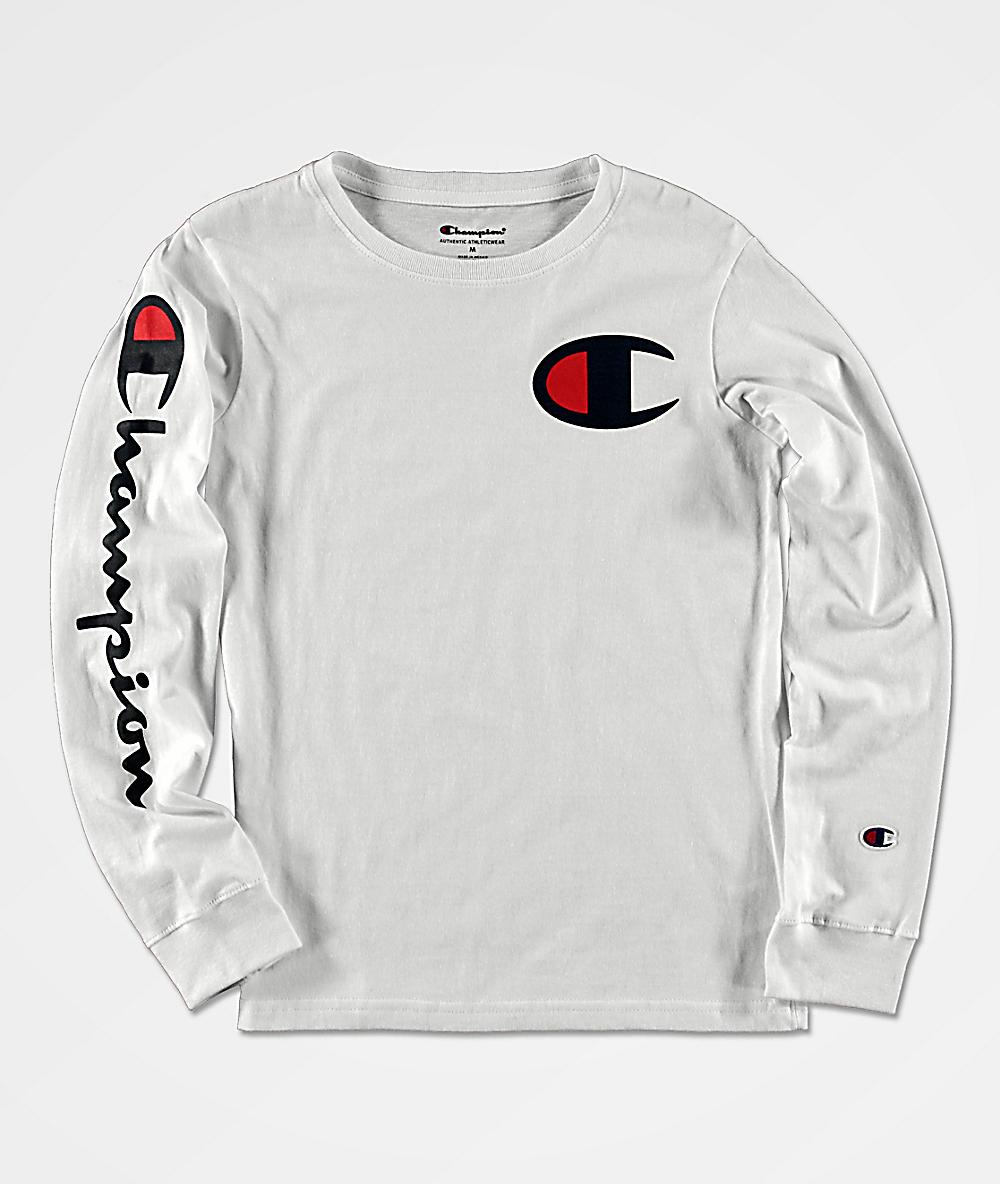 Champion Boys Sleeve Print White Long Sleeve T Shirt Zumiez