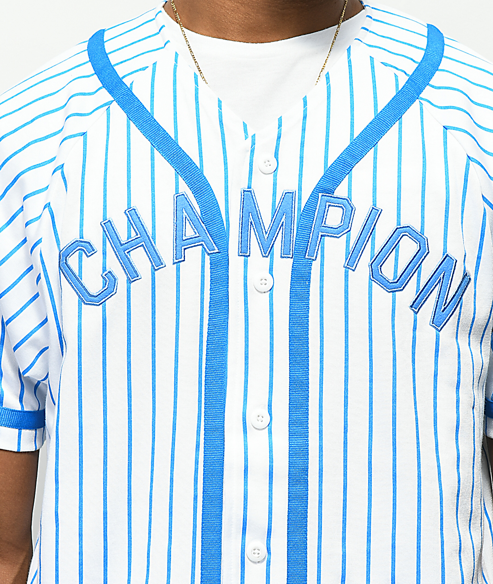 2ff726b4f57e Champion Braided Pinstripe White & Blue Baseball Jersey | Zumiez